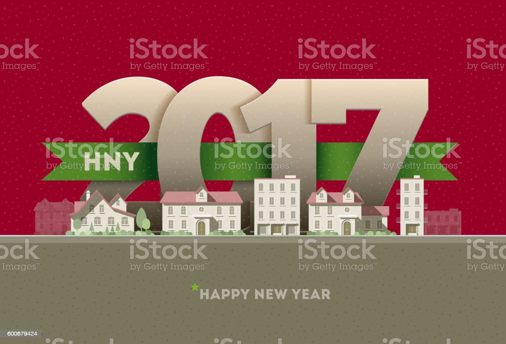 Happy New Year in town vector art illustration