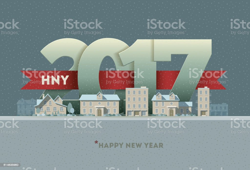 2017 Happy New Year in town vector art illustration