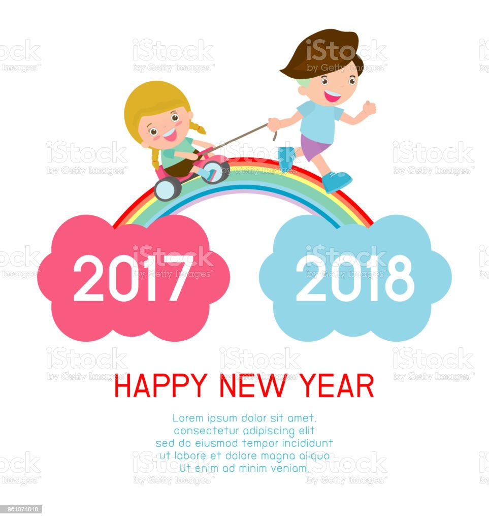 Happy New Year kids background, children running on the rainbow. between 2017 and 2018 years Colorful Vector Illustration - Royalty-free 2018 stock vector