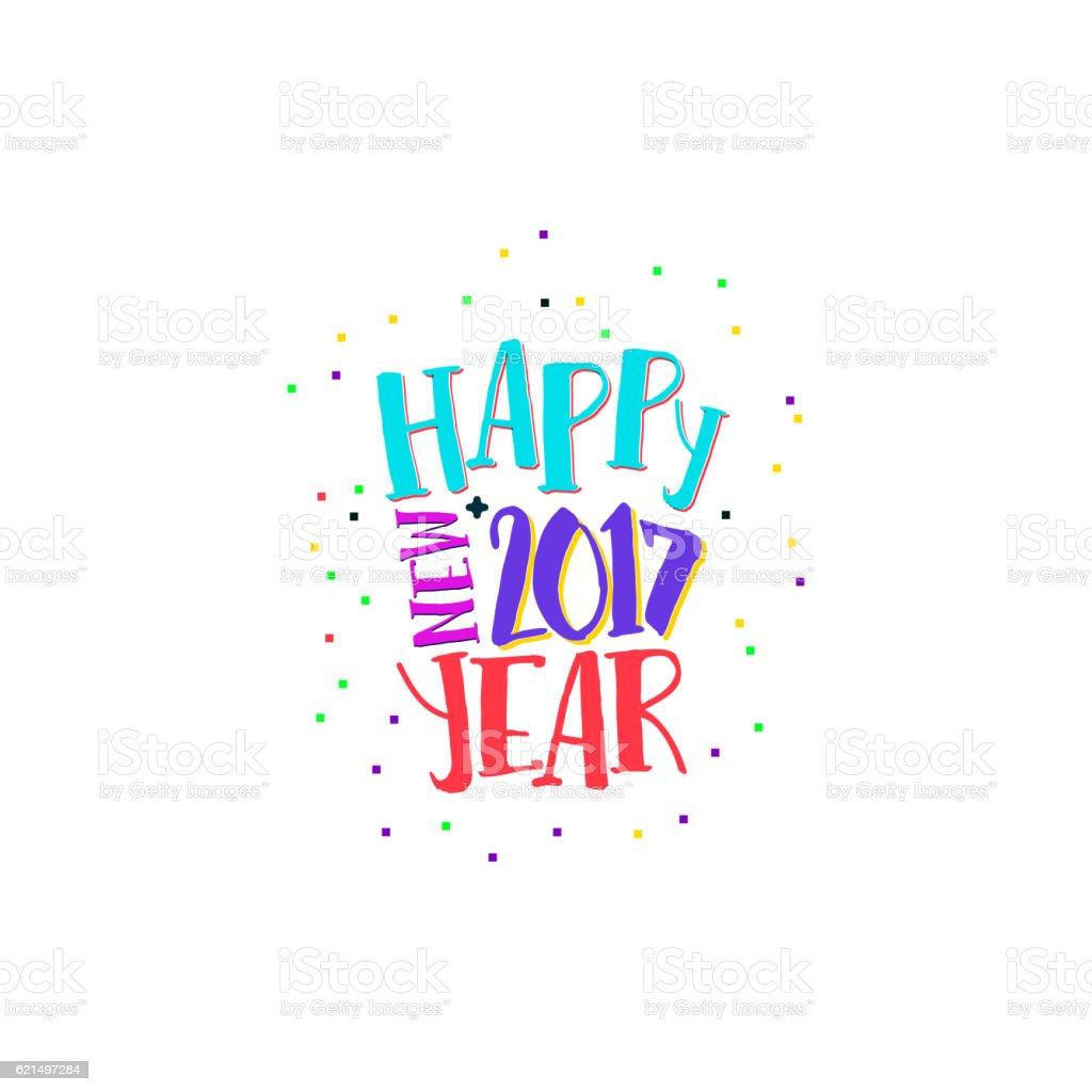 Happy new year label with bright colors happy new year label with bright colors - immagini vettoriali stock e altre immagini di 2017 royalty-free