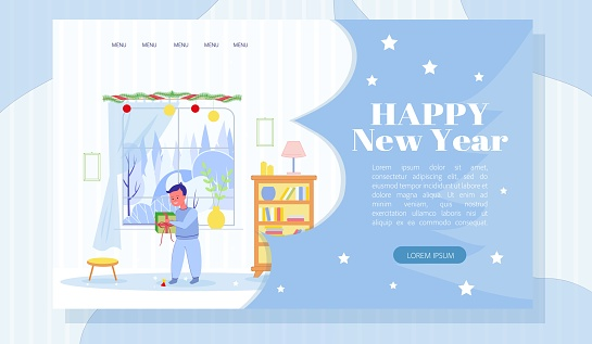 Happy New Year Landing Page Design with Cute Boy