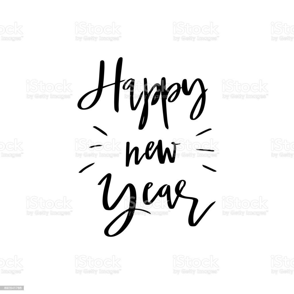 Frohes Neues Jahr Schriftzug Kalligraphie Illustration Vektor ...