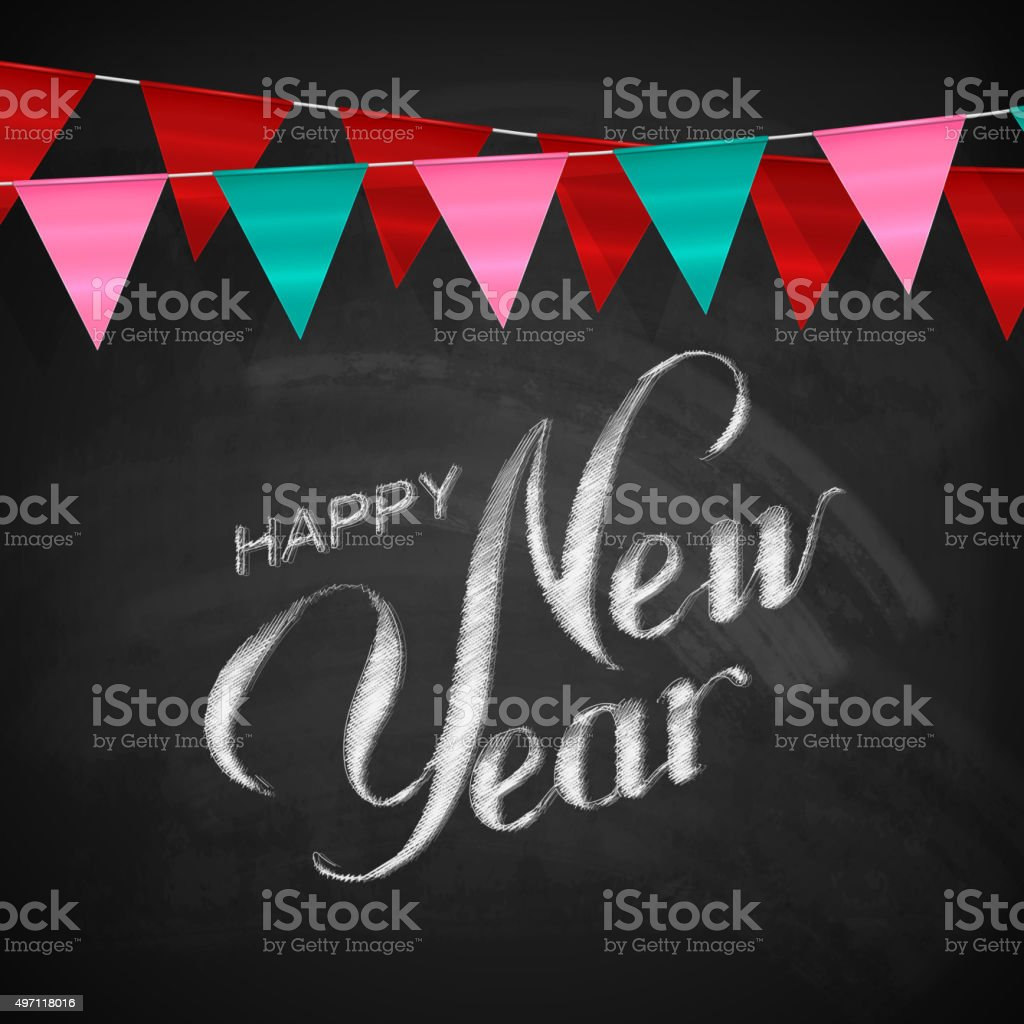 happy new year lettering chalk composition stock vector art more