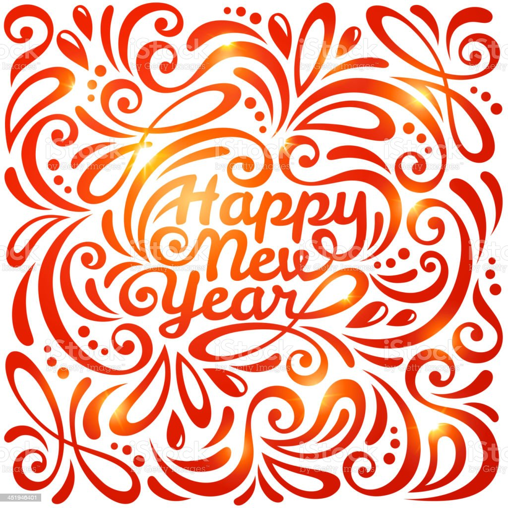 Happy New Year lettering Greeting Card. royalty-free happy new year lettering greeting card stock vector art & more images of 2014