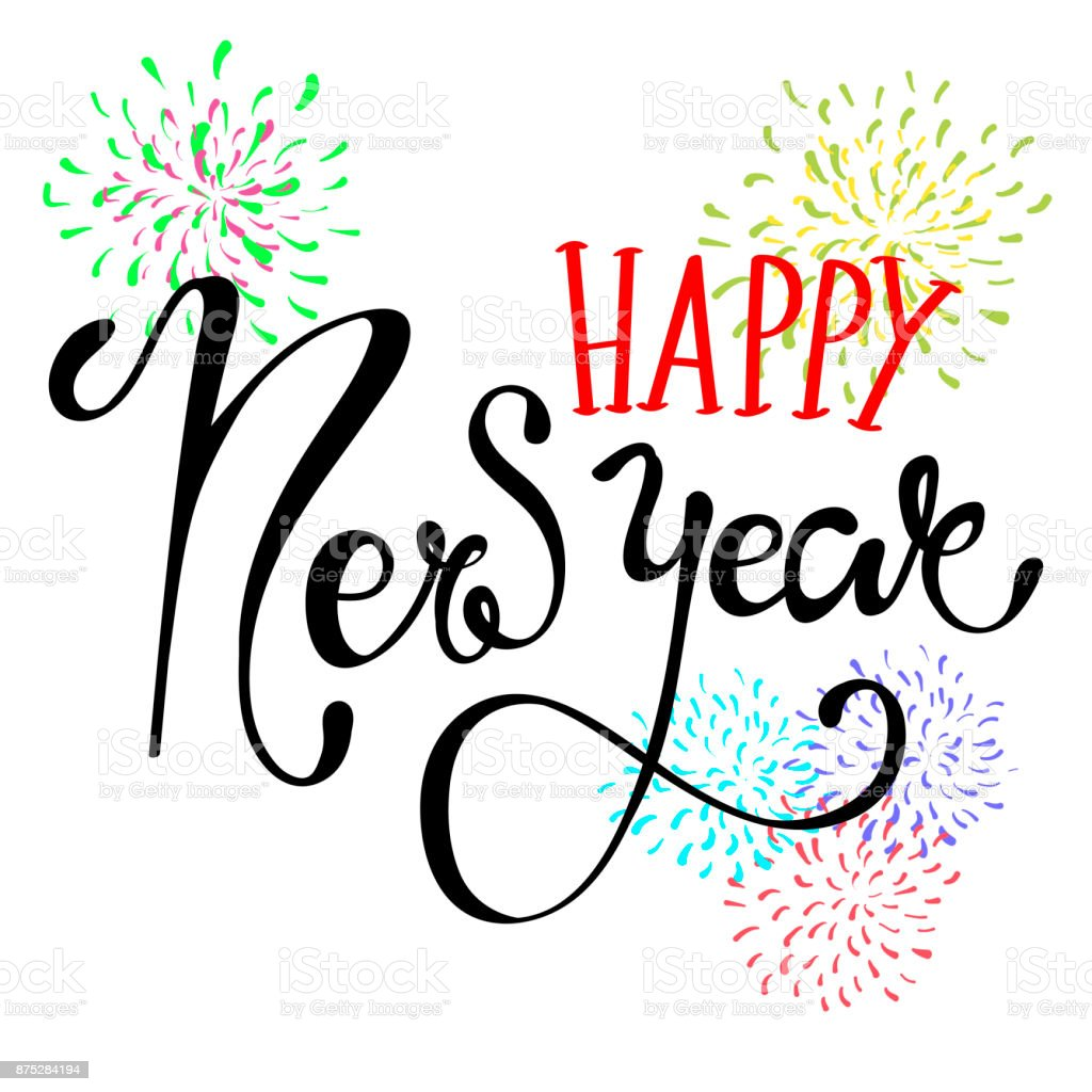 Happy New Year Lettering Greeting Card With Firework Stock Vector ...