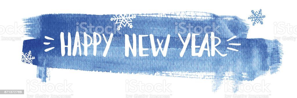 Happy new year lettering on abstract watercolor blue background vector art illustration