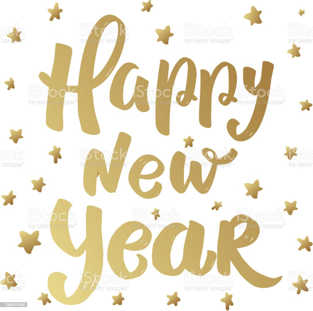 Happy New Year Lettering Phrase With Stars Design Element For Poster ...
