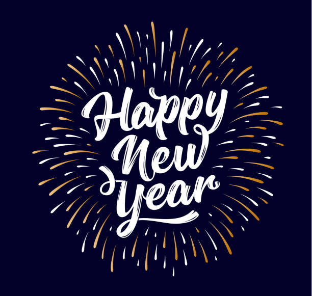 happy new year. lettering text for happy new year - happy new year stock illustrations