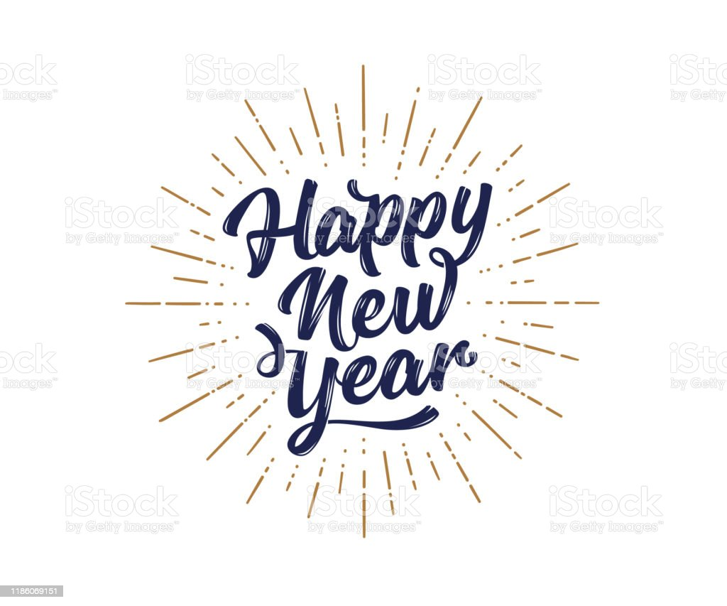 Happy New Year. Lettering text for Happy New Year - Royalty-free 2019 arte vetorial