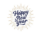 Happy New Year. Lettering text for Happy New Year