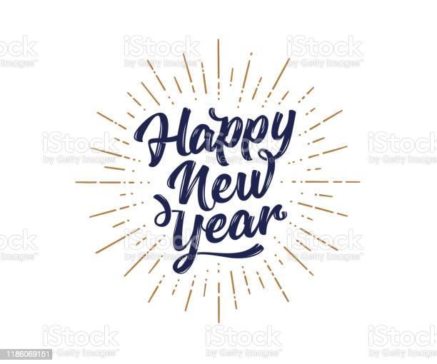 Happy New Year Lettering Text For Happy New Year - Arte vetorial de stock e mais imagens de 2019