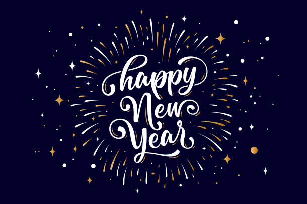 ilustrações de stock, clip art, desenhos animados e ícones de happy new year. lettering text for happy new year - happy new year