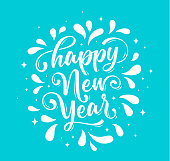 Happy New Year. Lettering text for Happy New Year or Merry Christmas. Greeting card, poster, banner with script text happy new year. Holiday background with blue graphic. Vector Illustration