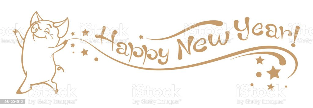 happy new year lettering text on white background pig year royalty free happy new