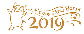 2019 Happy New Year lettering text on white background. Pig year. Vector image