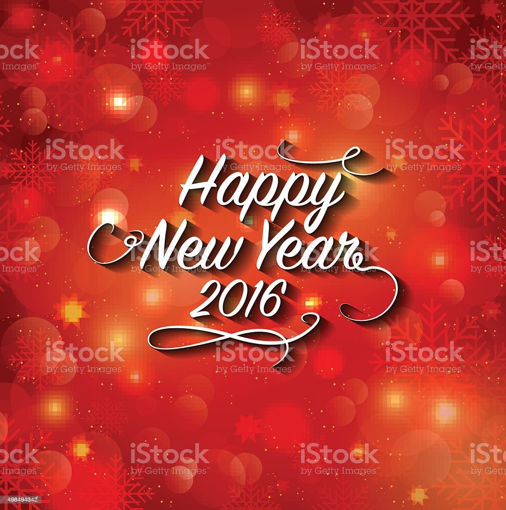 Happy New Year lettering vector art illustration