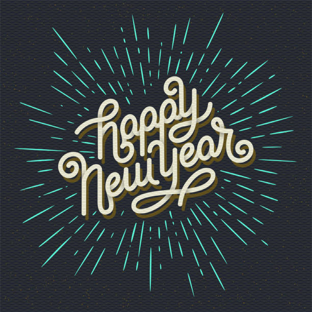 Happy New Year Lettering with burst rays. Holiday Vector Illustration. Lettering Composition And Light Rays Or Sunburst Happy New Year Lettering with burst rays. Holiday Vector Illustration. Lettering Composition And Light Sunburst happy new year 2021 stock illustrations