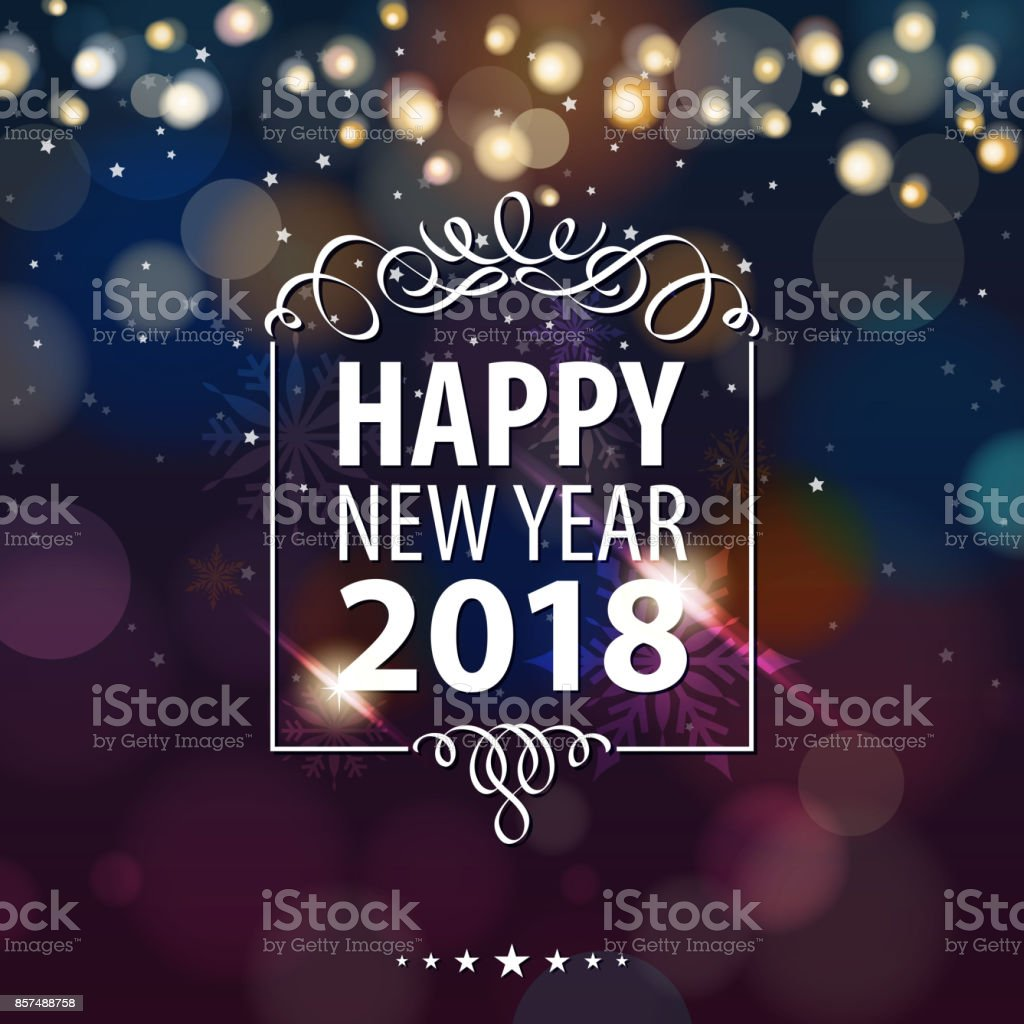 Happy New Year Lights 2018 vector art illustration