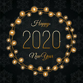 Happy New Year Lights Wreath. Stock illustration
