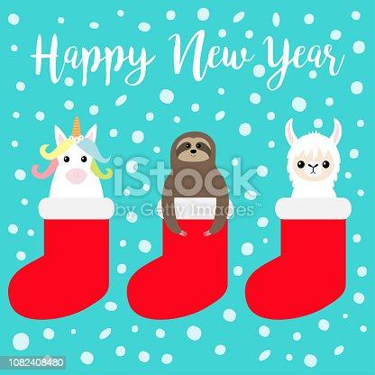 Happy New Year. Llama alpaca, sloth, unicorn in red sock. Snow flake. Merry Christmas. Cute cartoon funny kawaii character. T-shirt, greeting card, poster print. Flat design. Blue background.