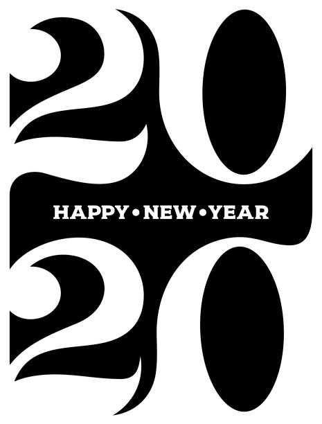 2020 Happy new year logo. Celebration text graphics. Cover of business diary for with wishes. Brochure design template, poster, card, banner. Vector illustration. Isolated on white background. 2020 Happy new year logo. Celebration text graphics. Cover of business diary for with wishes. Brochure design template, poster, card, banner. Vector illustration. Isolated on white background. 2020 stock illustrations