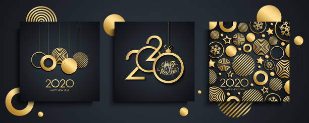 2020 Happy New Year luxury greeting cards set. New Year holiday invitations templates collection with hand drawn lettering and gold christmas balls. vector art illustration