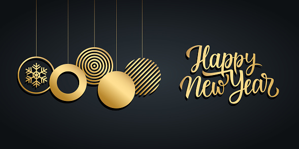 Happy New Year luxury holiday banner with gold handwritten new year greetings and gold colored christmas balls.