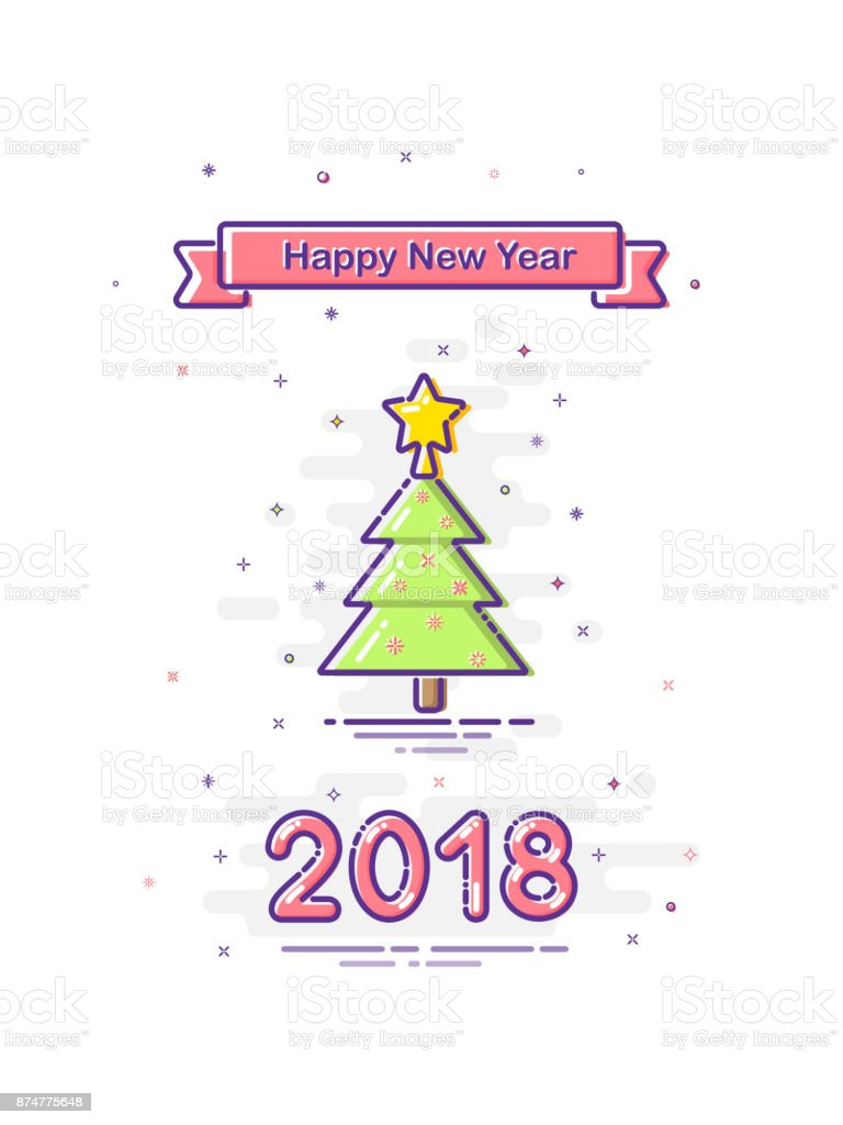 2018 happy new year mbe style design colored ribbon with happy new year text and