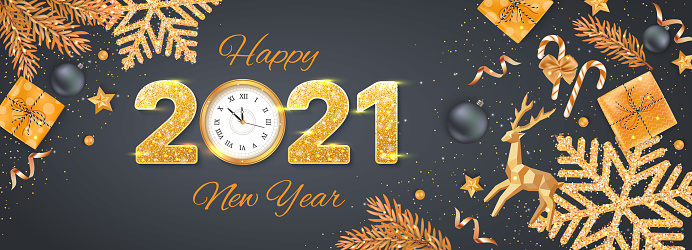 2021 Happy New Year Merry Christmas Background, banner, flyer, card. Holiday vector with realistic gold deer, clock, stars, balls, snowflakes.
