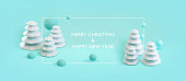 Happy New Year, Merry Christmas banner. Poster background with placefor your text. Modern minimal Happy New Year concept. . Vector 3d illustration of abstract geometric white Christmas trees.
