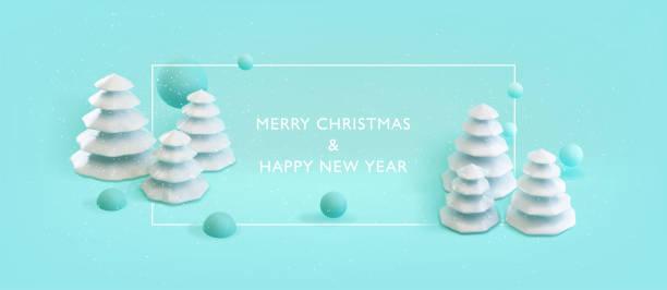 Frohes neues Jahr, Frohe Weihnachten Banner. Poster-Hintergrund mit placefür Ihren Text. Modernes minimales Happy New Year Konzept. . Vektor 3d Illustration von abstrakten geometrischen weißen Weihnachtsbäumen. EPS10 – Vektorgrafik