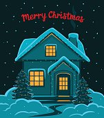Happy New Year, Merry Christmas Eve and Night seasonal winter greeting card with decorated with led lights house in snow and pine trees