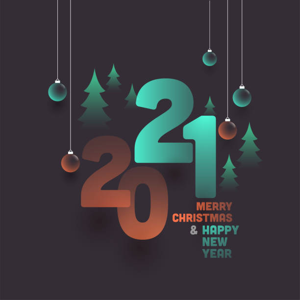 2021 Happy New Year & Merry Christmas Text With Hanging Glossy Baubles And Xmas Trees On Grey Background. vector art illustration