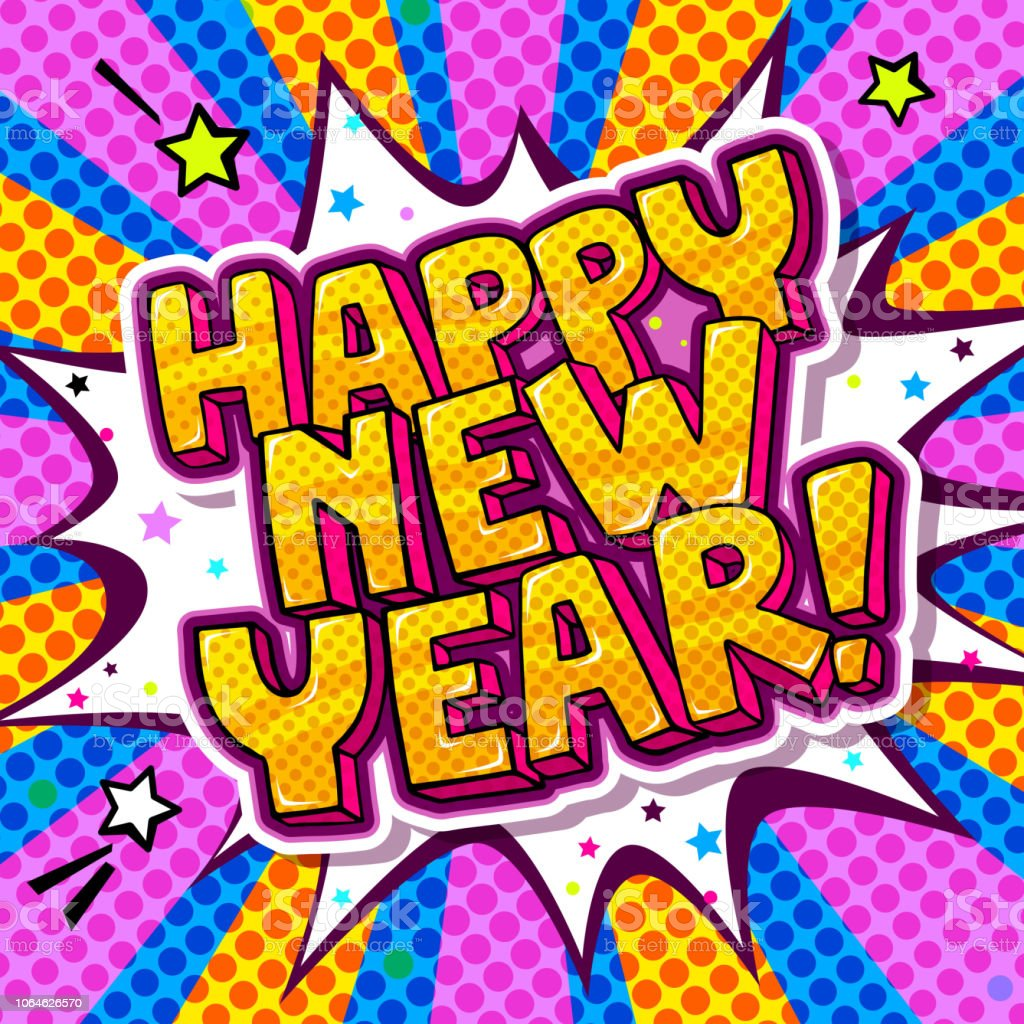 happy new year message in pop art style royalty free happy new year message