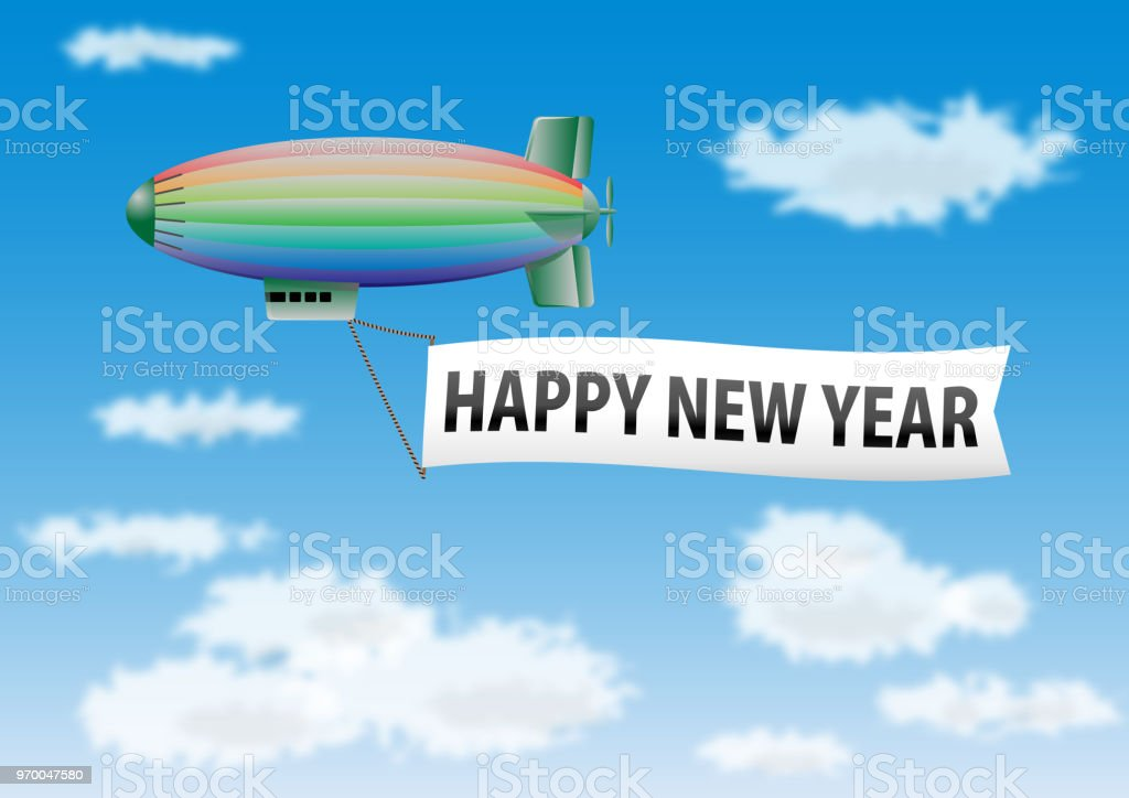 happy new year message on banner of blimp royalty free happy new year message on