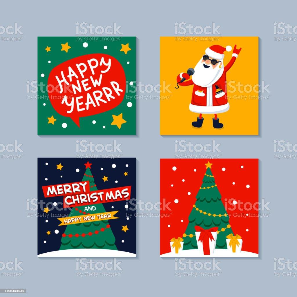 Gott nytt år mini gratulationskort. Sjungande jultomten, presenter, julgran och gott nytt år inskription på ett pratbubbla. Xmas gratulationskort. Platt stil vektor illustration - Royaltyfri Affisch vektorgrafik