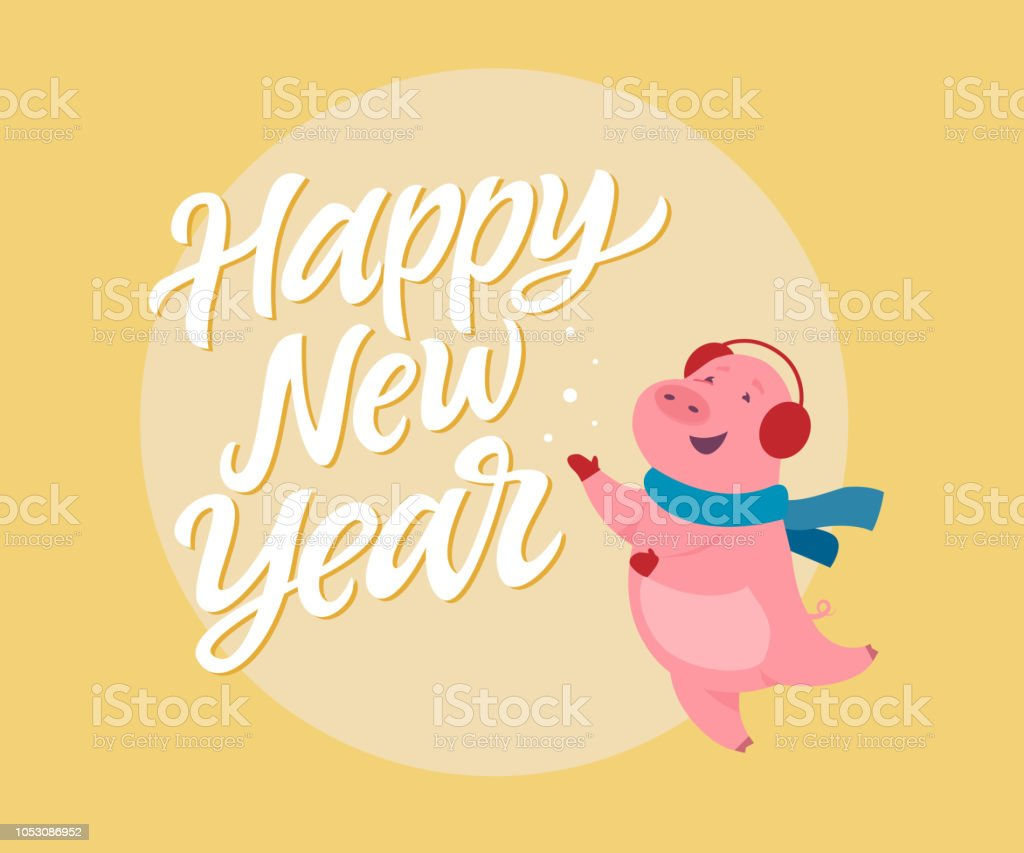 happy new year modern cartoon character illustration royalty free happy new year modern cartoon
