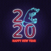 2020 Happy New Year Neon sign with rat. Vector Illustration. For New 2020 Year Design template for greeting card, flyer, poster, banner or website template. Rat neon sign for banner or advertisement.