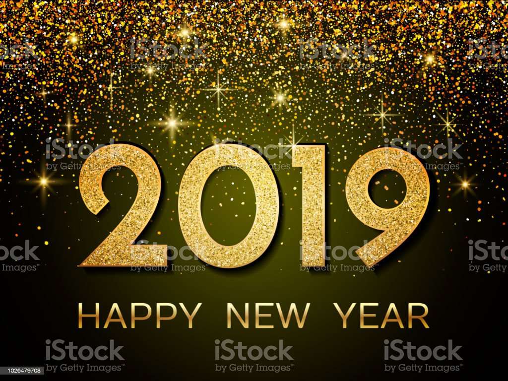 2019 Happy New Year New Year 2019 Greeting Card Background With