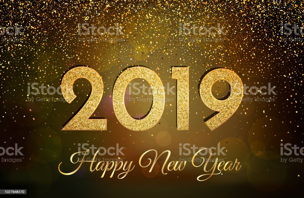 2019 happy new year new year 2019 greeting card background with golden numbers and