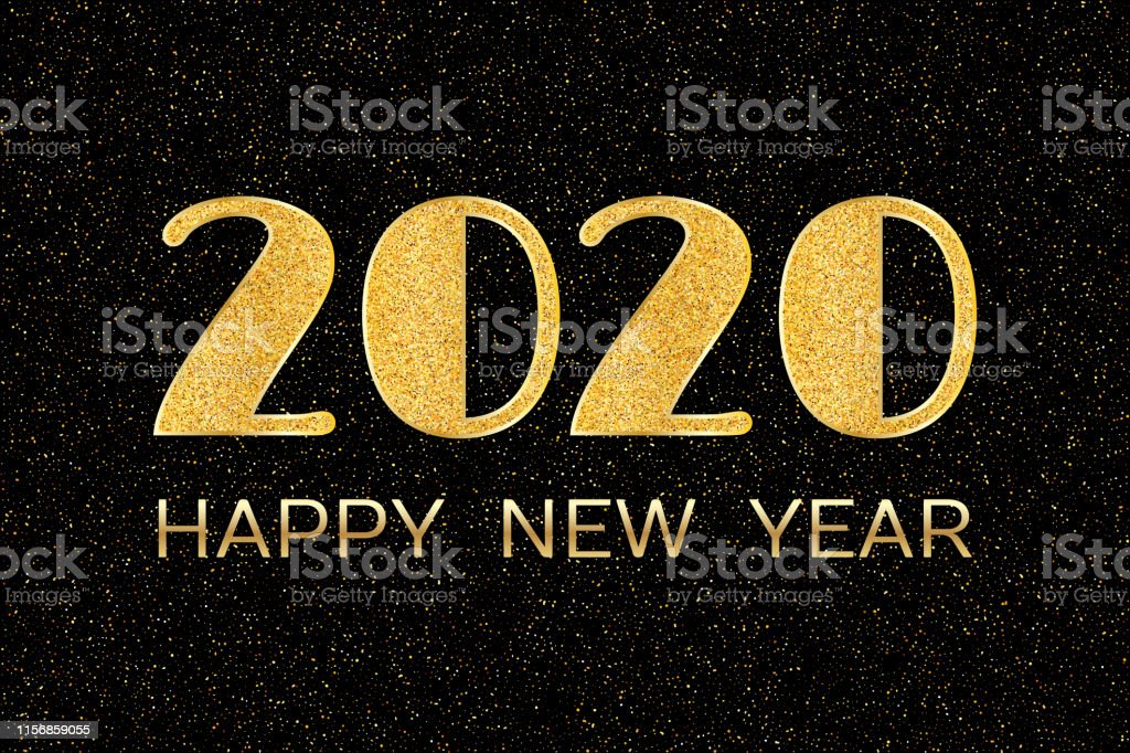 Happy New Year. New Year 2020 greeting card. Background with golden...