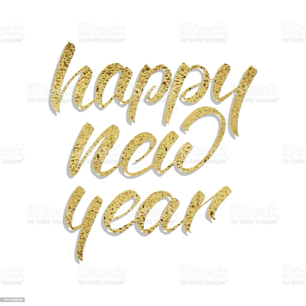 Happy New Year New Year Calligraphy Of Realistic Gold Foil Texture