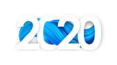 Vector illustration: Happy New Year. Number of 2020 with blue abstract twisted paint stroke shape. Trendy design