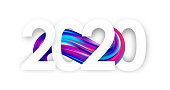 Vector illustration: Happy New Year. Number of 2020 with colorful abstract twisted paint stroke shape on white background. Trendy design