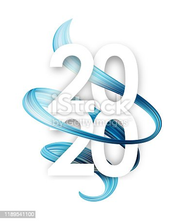 Vector illustration: Happy New Year. Number of 2020 with light blue abstract twisted paint stroke shape. Trendy design