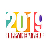 2019 Happy New year numbers greeting card colorful concept