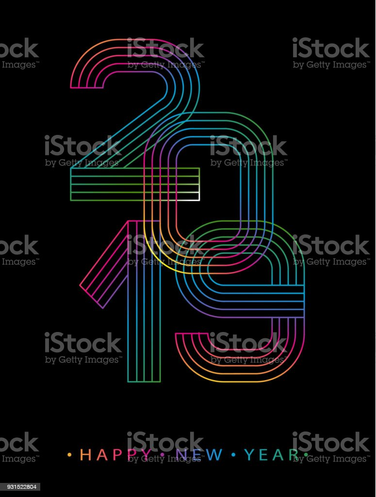 2019 happy new year numbers minimalist style vector linear numbers design of greeting