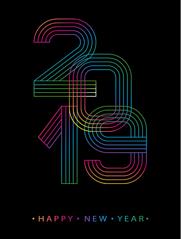 2019 Happy new year. Numbers minimalist style. Vector linear numbers. Design of greeting card. Vector illustration.