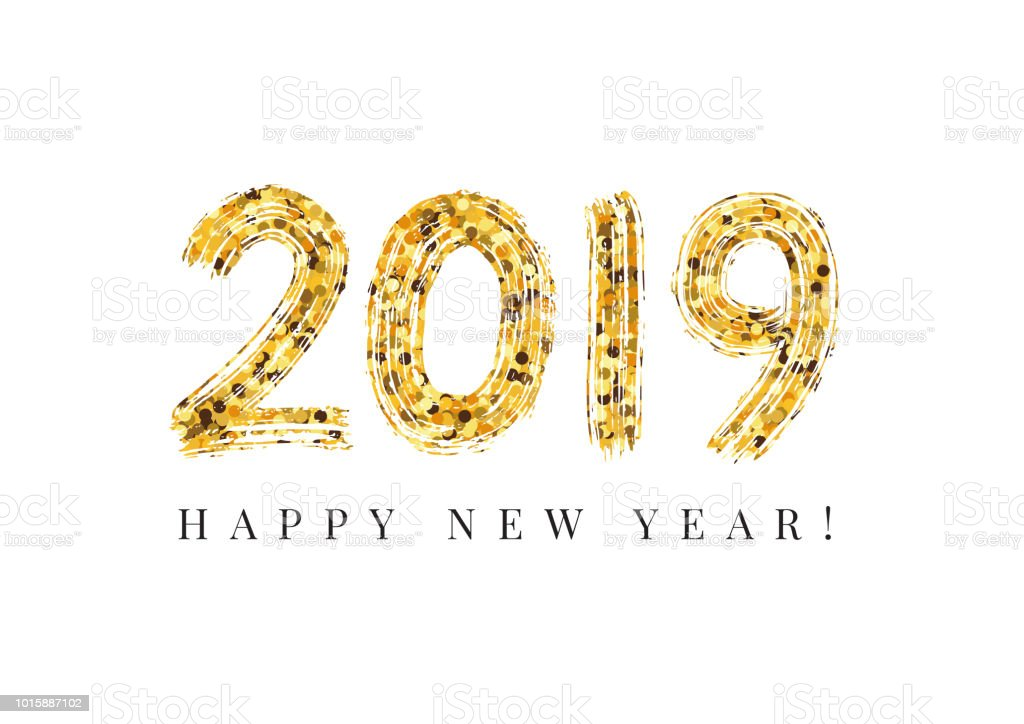 2019 Happy New Year. Numeral hand lettering. Dry brush texture effect. Merry Christmas. Graduation. Vector Illustration vector art illustration