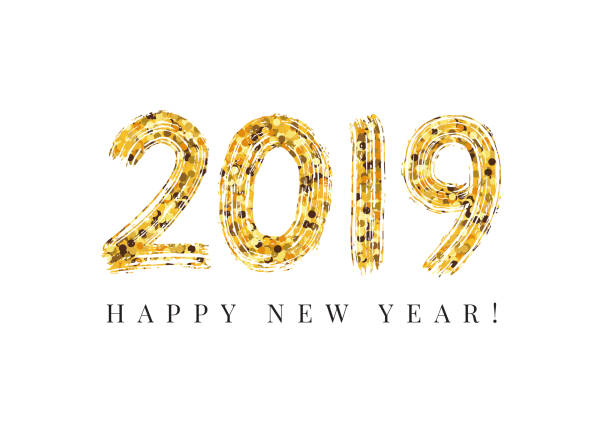 2019 新年あけましておめでとうございます。数字手レタリング。乾いたブラシ テクスチャ効果。メリークリスマス。卒業。ベクトル図 - 大晦日点のイラスト素材/クリップアート素材/マンガ素材/アイコン素材